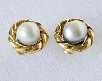 Pearl Earrings with Gold Torssade