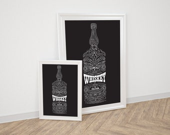 Whiskey is a solution - typographic print
