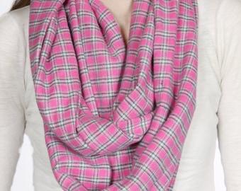 Cozy Pink Plaid Infinity Scarf