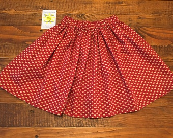 Red Heart Print Baby Circle Skirt