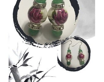 Ceramic Rose Beads With Jade And Czech Crystal Rondelles Earrings  - Rose Beads - Jade Beads