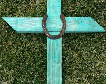 Turquoise Wooden Cross