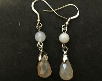 Peach Agate Teardrop Earrings on Sterling Silver