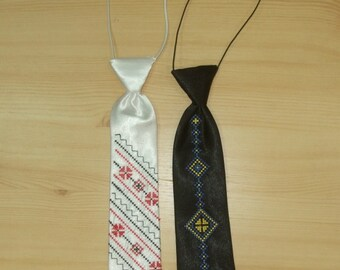 Neck tie embroided Ukrainian. Necktie for boys vyshyvanka, tryzub. Accessory for all holidays and a great gift for a boy.