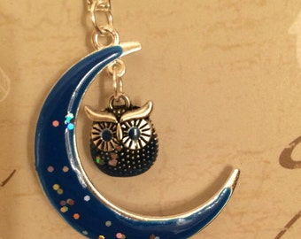 Crescent  moon and owl charm necklace