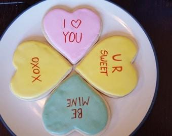 1 Dozen Handmade Conversation Heart Sugar Cookies (Customization Available!)