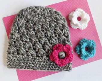 Crochet Grey Toddler Hat with Interchangeable Flowers