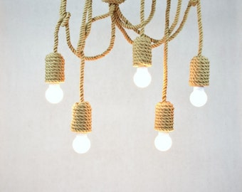 Jute Long Chandelier Pendant Light Made From Sailing Rope