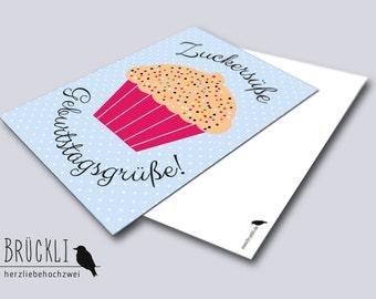 "Birthday card / greeting card / postcard ""Sweet as sugar"", A6"