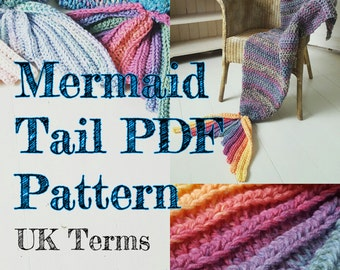 Crochet Mermaid Tail Blanket Pattern ADULT SIZE UK Terms with permission to sell finished items