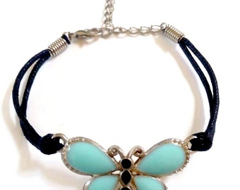 Bracelet butterfly silver and blue enamel 6 to 7in