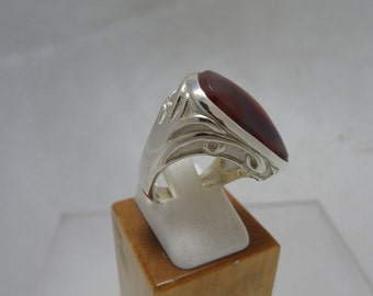 Red Agate Freeform Ring