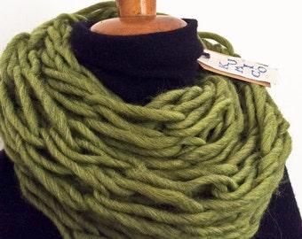 Light green double loop infinity scarf