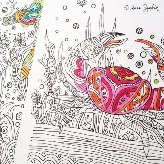 Sue Zipkin Printable Set Of 2 Sea Life Coloring Book Pages Pdf