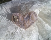 Heart ornament, lace ornament, burlap ornament, valentine ornament