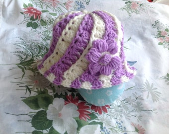 hand crochet purple and white hat 9 - 12 months