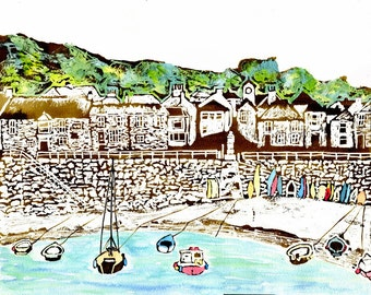 Mousehole village harbour print from original watercolour and acrylic painting,Cornish art,blue sea,colourful boats,green trees,Cornwall
