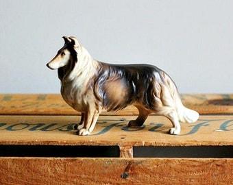 Vintage Porcelain Collie Dog Figurine Exquisite Rough Coat Pretty Face