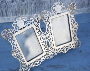 Silver Vintage Filigree Picture Frames/Patina filigree picture frame/Vintage wedding picture frame/Filigree silver frame/Wedding frame.