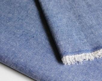Indigo Blue Chambray Organic Linen Cotton Fabric by 1/4 Metre, Indigo Linen Organic Cotton Fabric, Linen Fabric, Eco-Friendly Apparel Fabric