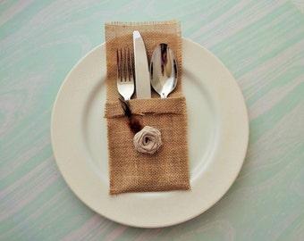 Weddings Events Dinner Parties Cutlery Holder Lace and Burlap Cutlery Holders Silverware Sleeves Cutlery Cozy Flatware Pockets