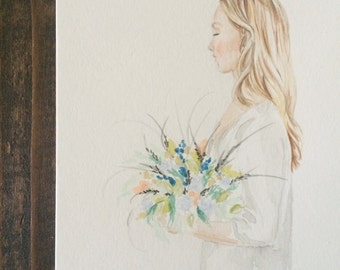 Watercolor girl with flowers