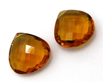 2 Pcs 1 Match Pair 18x18 mm Beer Quartz Faceted Heart Briolettes, Earring Pair, Jewelry Making BR158