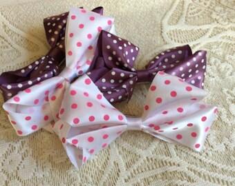 Four (4) Polka Dot Handmade Hair Bows