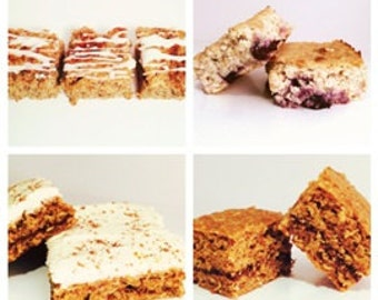 Cake Bars, Cinnamon Roll, Lemon Blueberry, Carrot, Cream Cheese Frosting, Pecans, Gluten Free, Sugar Free, Protein, Low Calorie