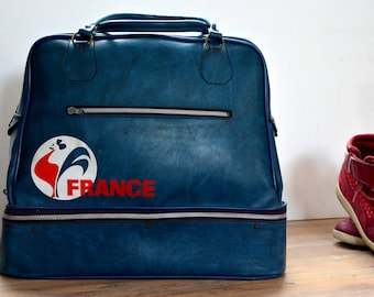 20% DISCOUNT French travel bag, french vintage, red blue white sports bag, overnight bag