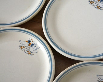 lot of 4 funny plates, crockery child, natural earthenware, made in France