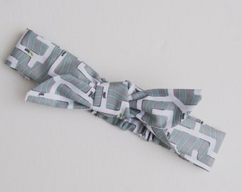 Childs Knotted Headband Elasticated back Grey and White