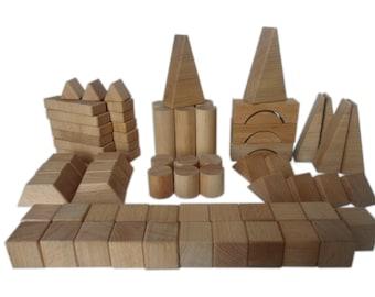 72 parts - 11 wooden building blocks forms