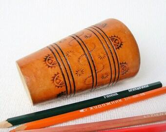 Vintage Wooden Pencil Box, Wooden Dish, Carved Ornamental decor, USSR (K03)