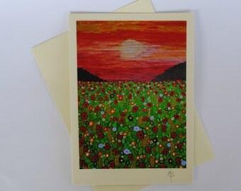 Corn Field Greeting Card art print reproduction