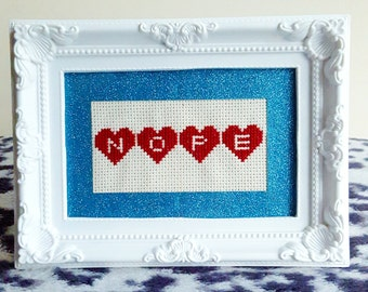 NOPE love hearts framed cross stitch