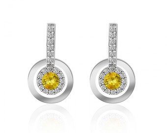 0.42 Carat Yellow Sapphire with Diamond Drop Earrings 14K White Gold
