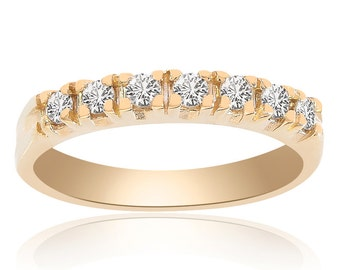 0.30 Carat Round Cut Brilliant Diamond Wedding Band 14K Yellow Gold