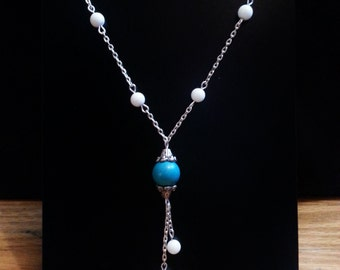 White Jade Lariat Necklace, Y Necklace, Turquoise bead Necklace, Silver Finished Chain Necklace, White Jade Bead Necklace, Lariat Necklace