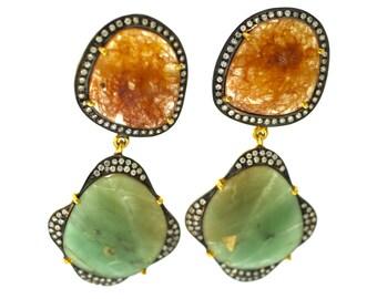 Gemstone Earrings/ Pink and Green Aventurine/ Hanging Earrings