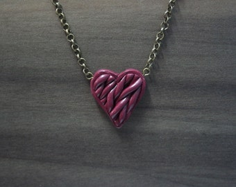 Purple Heart Knitted Heart Necklace