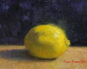 "Original Oil Painting; Lemon on Blue 5"" x 7"""