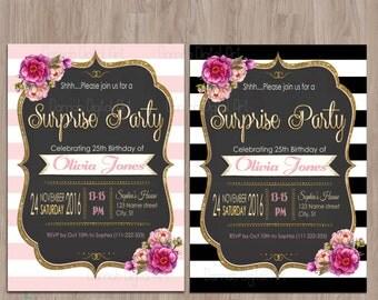 Surprise birthday invitation. Surprise birthday invites. Surprise birthday party invitations. Surprise party invitation. Surprise invitation