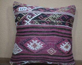 "Embroidery Turkish Kilim Pillow,Kilim Cushion Cover Throw Pillow Geometric Designs Turkey Kilim Pillow 16"" x 16"" 40cm x 40 cm SP40-261"