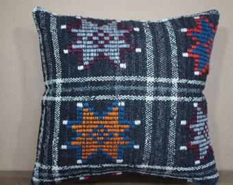 "Turkish Kilim Pillow,Kilim Cushion Cover Throw Pillow Turkey Kilim Pillow 16"" x 16"" 40cm x 40 cm SP40-323"