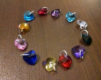 10mm Acrylic Heart Shaped Birthstone Charms - Jewelry Supplies - Bracelet Charms