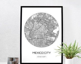 Mexico City Map Print - City Map Art of Mexico City Mexico Poster - Coordinates Wall Art Gift - Travel Map - Office Home Decor