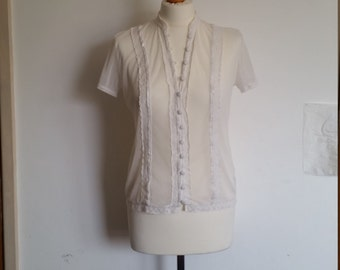 Women's White Smart/Casual Vintage Spring/Summer Party Blouse Size 10 Principles Cheap Gift