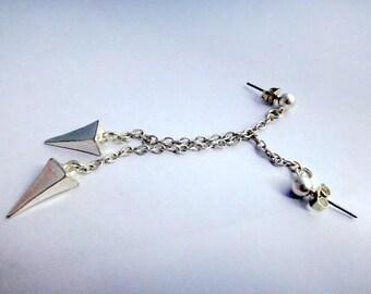 Sterling silver chain spike dangle earrings - rock style long drop earrings