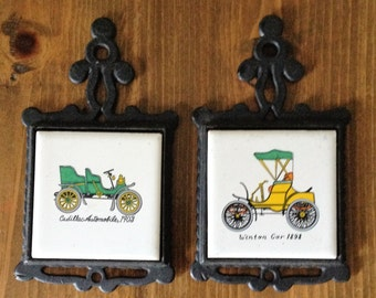 Set of 2 Classic Car Cadillac & Winton Trivets Iron and Porcelain Tile White Green Yellow Hotrod